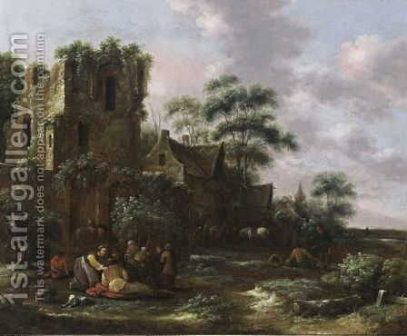 A Village Scene With Peasants And Their Children Near A Ruined Tower, A Tavern With Horsemen And Other Figures In The Background by Claes Molenaar (see Molenaer) - Reproduction Oil Painting