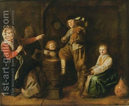 An Interior Scene With Children Making Music by Jan Miense Molenaer - Reproduction Oil Painting