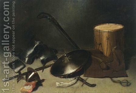A Still Life With Armour, A Shield, A Gun, A Halberd, A Helmet, A Sword, A Jacket And A Drum by (after) Gerrit Dou - Reproduction Oil Painting