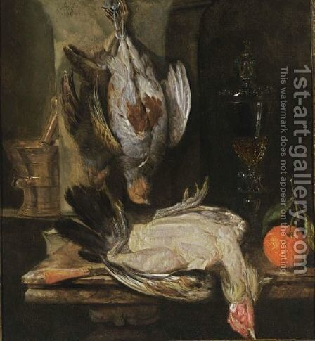 A Still Life With A Partridge, A Turkey, A Bitter Orange, A Glass Goblet Together With A Mortar And A Knife With An Agaath Handle, All On A Marble Ledge by Abraham Hendrickz Van Beyeren - Reproduction Oil Painting