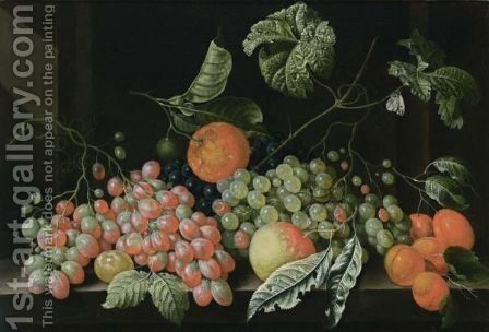 A Still Life With Grapes, A Tangerine, An Apple, Prunes And Apricots, All On A Stone Legde by Cornelis De Bryer - Reproduction Oil Painting