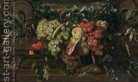 A Still Life With White And Blue Grapes, Peaches, Cherries, A Fig, An Ear Of Wheat, Oak Leaf And Acorns, A Sweet Chestnut, Filbert Nuts, Hawk-Weed, A Medlar, A Garden Tiger Moth, Together With Borage, And Other Flowers by Jan Davidsz. De Heem - Reproduction Oil Painting