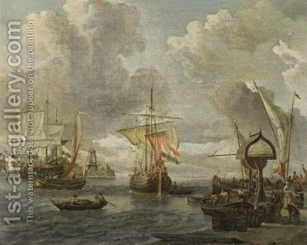 A View Of A Dutch Harbour On The Zuiderzee With A Buis, A Merchantman And Other Boats, Together With Merchants Unloading Their Goods by Abraham Storck - Reproduction Oil Painting