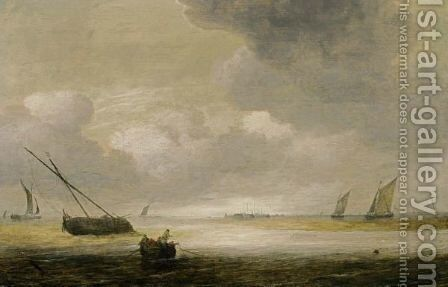 Shipping In A Calm With A Fishing Boat In The Foreground, And A Fortified Harbour In The Background by Hendrik van Anthonissen - Reproduction Oil Painting