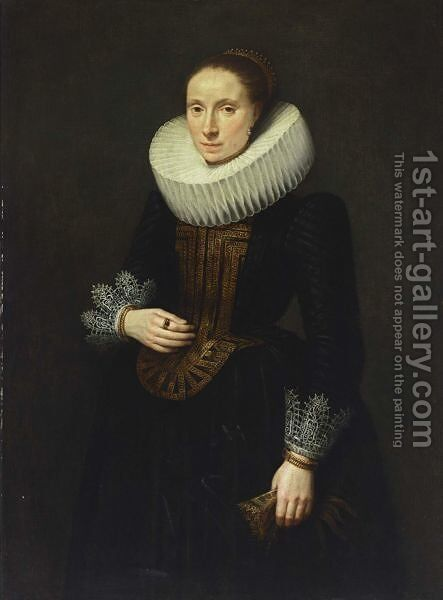 A Portrait Of A Lady, Standing Three-Quarter Length, Wearing A Black Dress With White Lace Cuffs And Collar And An Embroidered Bodice, Holding Gloves In Her Left Hand by (after) Cornelis De Vos - Reproduction Oil Painting