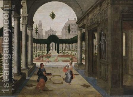 An Architectural Capriccio With King David And Bathseba by Antwerp School - Reproduction Oil Painting