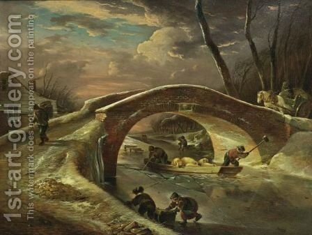 A Winter Landscape With A Horse Drawn Cart Going Over A Bridge, Peasants Transporting Pigs Over The River, And Children Sledging by Andries Vermeulen - Reproduction Oil Painting