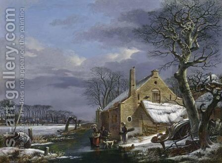 A Winter Landscape With Figures And A Dog On A Frozen Ditch Near A Farmhouse, A Village In The Background by Arnoldus Van Well Dordrecht - Reproduction Oil Painting