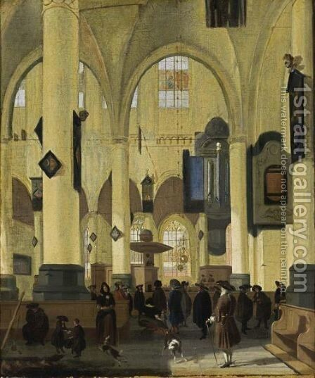 An Interior Of A Protestant Gothic Church With Figures During A Sermon by Hendrick Van Streek - Reproduction Oil Painting