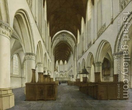 Haarlem The Interior Of The St. Bavo by Isaak Nickelen - Reproduction Oil Painting