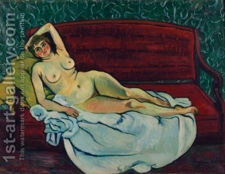 Nu Allonge Sur Un Canape by Suzanne Valadon - Reproduction Oil Painting