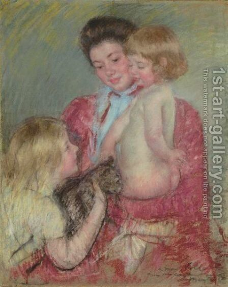 Reine Lefebvre With Blond Baby And Sara Holding A Cat (Maternite) by Mary Cassatt - Reproduction Oil Painting