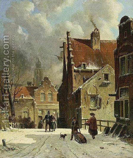 Figures In A Wintry Town by Adrianus Eversen - Reproduction Oil Painting