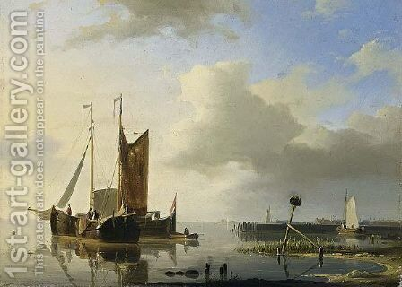 Ships At Anchor In A Calm by Abraham Hulk Jun. - Reproduction Oil Painting