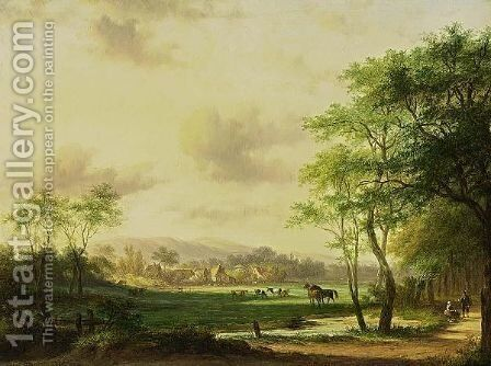 Travellers In A Wooded Summer Landscape by Jan Evert Morel - Reproduction Oil Painting