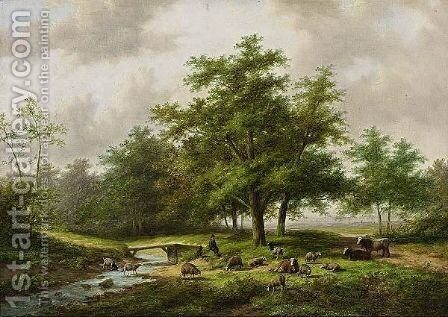 A Shepherd With His Flock In A Wooded Landscape by Jan Evert Morel - Reproduction Oil Painting