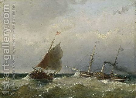 A Steamship At Sea by Andreas Schelfhout - Reproduction Oil Painting