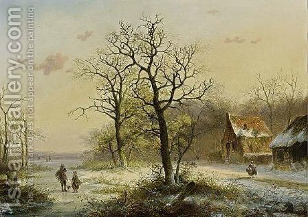 Conversing Figures On A Frozen Ditch by Jan Evert Morel - Reproduction Oil Painting