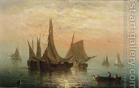 Shipping In A Calm by Henriette Gudin - Reproduction Oil Painting