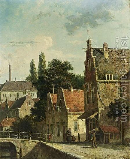Villagers In A Dutch Town by Adrianus Eversen - Reproduction Oil Painting