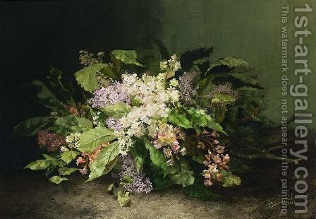 A Flower Still Life With Lilacs by Cornelia Schouten - Reproduction Oil Painting