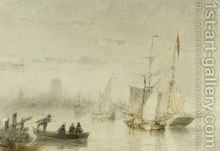 Ships On The Merwede Near Dordrecht by Andreas Schelfhout - Reproduction Oil Painting