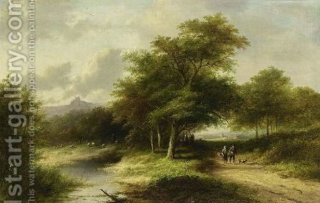 Travellers In A Summer Landscape by Jan Evert Morel - Reproduction Oil Painting