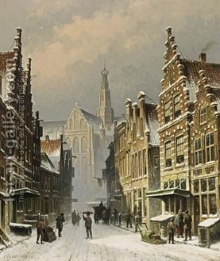 A Snowy View Of The Smedestraat, Haarlem by Eduard Alexander Hilverdink - Reproduction Oil Painting