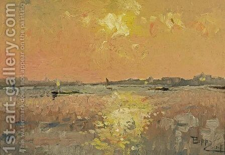 Venetian Sunset by Beppe Ciardi - Reproduction Oil Painting