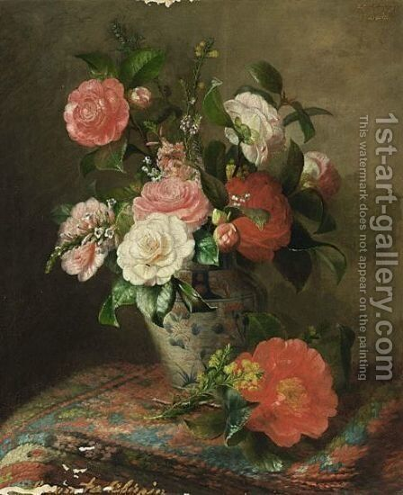 A Still Life With Pink And White Roses by Alexina Cherpin - Reproduction Oil Painting