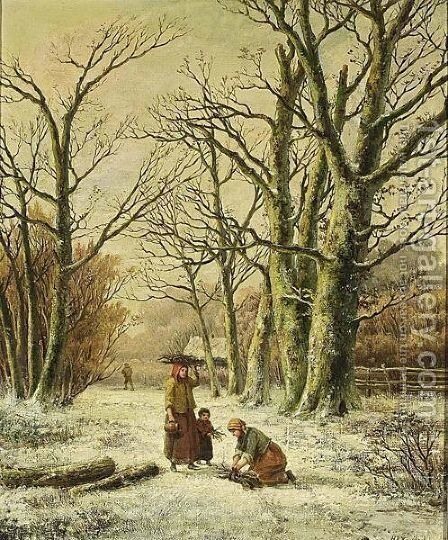 Women Gathering Wood In A Winter Landscape by Hendrik Barend Koekkoek - Reproduction Oil Painting