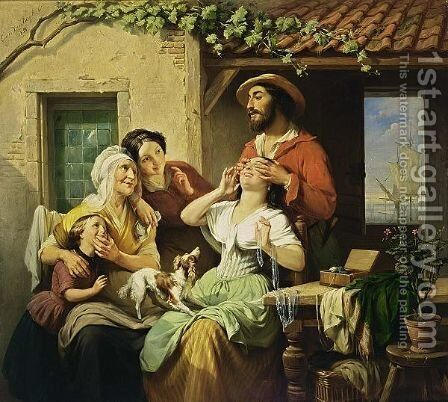 The Surprise Homecoming by Jean Louis van Kuyck - Reproduction Oil Painting