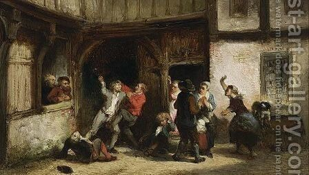 A Street Fight Outside A Tavern by Herman Frederik Carel ten Kate - Reproduction Oil Painting