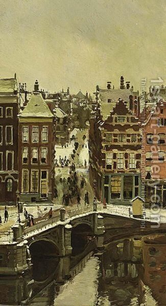 Amsterdam Im Schnee by Alexander Friedrich Werner - Reproduction Oil Painting