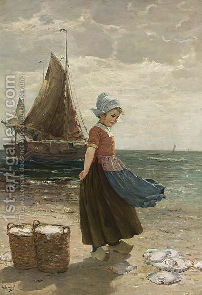 A Volendam Girl by Edmond Louyot - Reproduction Oil Painting
