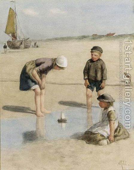 Children Playing On The Beach by David Adolf Constant Artz - Reproduction Oil Painting