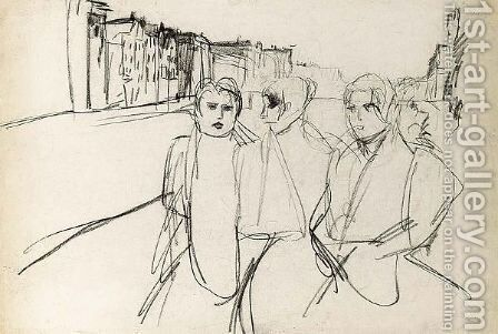 Three Servant Girls On The Prinsengracht, Amsterdam by Isaac Israels - Reproduction Oil Painting