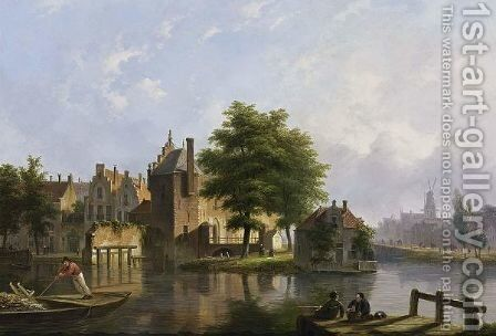 A View Of A Dutch Town In Summer by Bartholomeus Johannes Van Hove - Reproduction Oil Painting