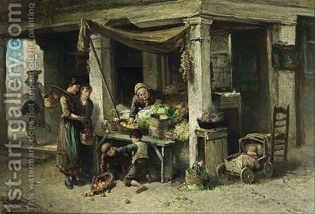 The Vegetable Stall by Jan Mari Henri Ten Kate - Reproduction Oil Painting