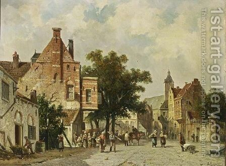 Townspeople On A Square by Adrianus Eversen - Reproduction Oil Painting