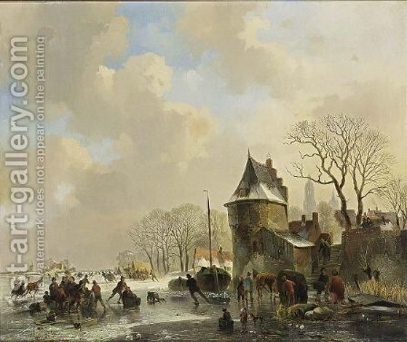 A Winter Landscape With Many Figures On The Ice by Cornelis Gerrit Verburgh - Reproduction Oil Painting