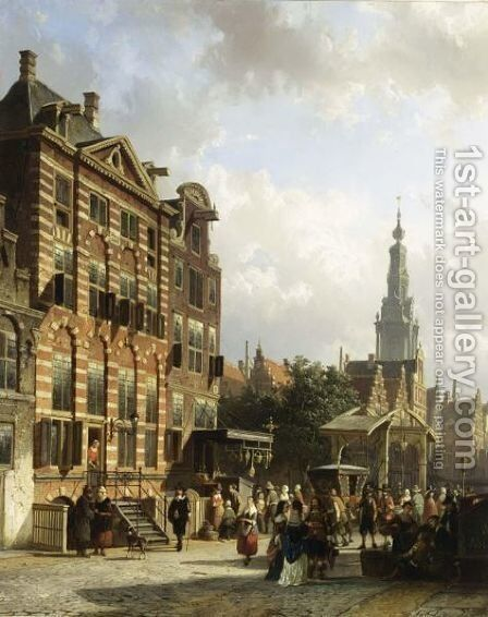A View Of The Jodenbreestraat With The Rembrandthuis, Amsterdam by Cornelis Springer - Reproduction Oil Painting