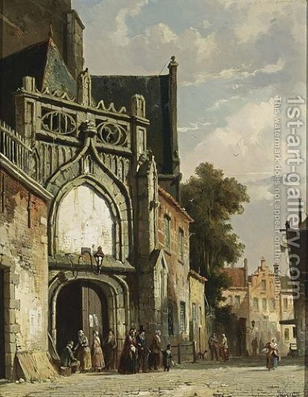 Figures Near A Church Entrance by Adrianus Eversen - Reproduction Oil Painting