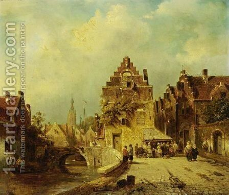 Villagers In The Streets Of A Dutch Town by Charles Henri Leickert - Reproduction Oil Painting