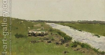A Summer Landscape by Anton Mauve - Reproduction Oil Painting