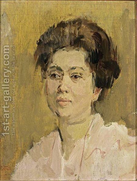 A Portrait Of A Lady by Isaac Israels - Reproduction Oil Painting
