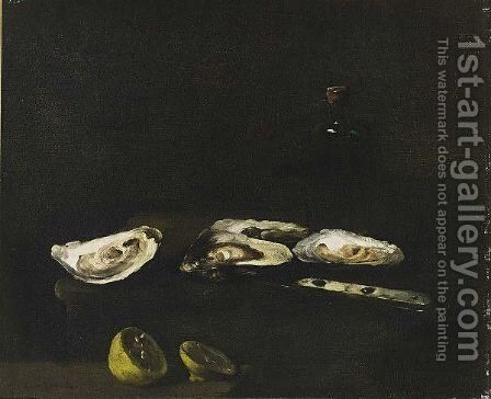 A Still Life With Oysters by Theodule Augustine Ribot - Reproduction Oil Painting