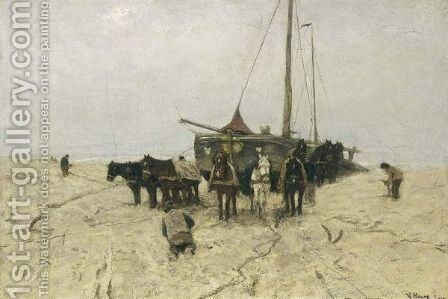 Fishing Boats On Scheveningen Beach by Anton Mauve - Reproduction Oil Painting