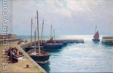 Early Morning, Buckhaven Harbour by Alexander Young - Reproduction Oil Painting