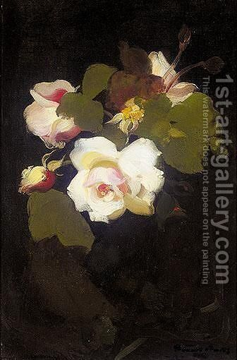 White Roses by James Stuart Park - Reproduction Oil Painting